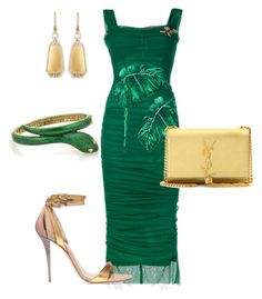 """Green with Envy"" by arta13 ❤ liked on Polyvore featuring Dolce&Gabbana, Balmain, Yves Saint Laurent and Ivanka Trump"