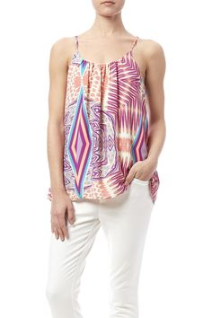 Printed flowy tank top that is fully lined and has a v-front and back.  Ciara Bali Top by Buddy Love. Clothing - Tops - Blouses & Shirts Clothing - Tops - Sleeveless Dallas Texas