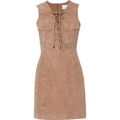 W118 by Walter Baker - Ellie Lace-up Suede Dress (€255) ❤ liked on Polyvore featuring dresses, tan, lace up front dress, laced dress, tan suede dress, beige suede dress and suede dresses