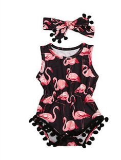 "FLAMINGO POM POM ROMPER PRICE $10.99 OPTIONS: 0/6M, 6/12M, 12/18M, 18/24M To purchase: comment ""sold"", size & email"