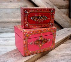Set of two handcrafted, henna inspired, Indian, wooden boxes
