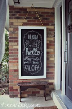 Chalkboard greetings and a free printable. 4men1lady.com