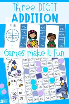 Teaching addition with regrouping to your second grade students or revising three digit numbers with regrouping with your third graders? Make learning to add three digit numbers fun with games. These math games are perfect for math centers, small groups, partner work, morning work, extra activities for early finishers and homeschoolers.  #threedigitregrouping #additiongames