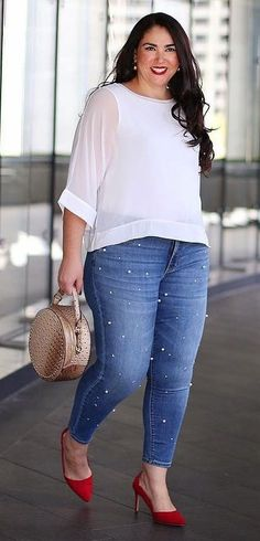 Plus size fashion for women plus size fashion store piger, jeans, Casual Work Outfits, Curvy Outfits, Mode Outfits, Work Casual, Fashion Outfits, Fashion Clothes, Curvy Work Outfit, Casual Wear, Fashion Tips