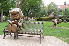 marcie and peppermint patty statues.   st. paul, mn.
