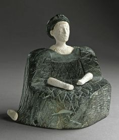 Chlorite and limestone figure of a seated woman. Front view. Northern Afghanistan. Ancient Bactria, c. 2500-1500 B.C. | Los Angeles County Museum of Arts Collections