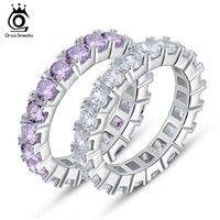 Wheel Full Round Cut Austrian CZ Crystal Prong Setting Platinum Plated Wedding Band