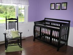 For a baby girl, Babys room is lilac, pink and spring green with black furniture and white wainscoting. , Nurseries Design