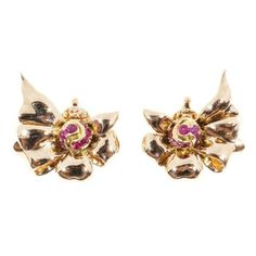 Pre-owned Tiffany & Co. 14K Rose Gold & Ruby Clip Earrings ($1,990) ❤ liked on Polyvore featuring jewelry, earrings, ruby earrings, tiffany co jewelry, rose gold clip earrings, pink gold earrings and rose gold jewelry
