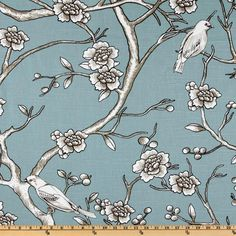 02-21-12.  $18.98 yard.  Fabric.com.  Dwell Studio Vintage Blossom Azure. 100% cotton  • Fabric Weight:  medium wt. Washing:Dry Clean. Horizontal Repeat:27.5.  Vertical Repeat:27. •Width:54''. Description: Fabric is screen printed cotton slubbed duck cloth (linen appearance), versatile medium weight fabric. Colors include black, taupe & ivory on a blue background. This fabric features birds & floral designs.  www.fabric.com/ProductDetail.aspx?ProductID=429ea5a2-de0b-4bb6-865e-4018d99a1ec6