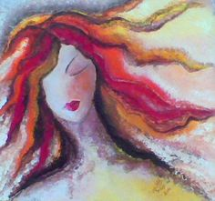Dreaming Woman By Ruaa Al Bazirgan All The Colors, Watercolors, Woman, Artwork, Painting, Inspiration, Cute Stuff, Cute, Work Of Art