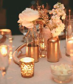 Top 2015 Wedding Trends from Chicago Wedding Planner Shannon Gail - Gold wedding centerpiece idea that we love! 2015 Wedding Trends, Wedding 2015, Mod Wedding, Dream Wedding, Wedding Day, Wedding Hacks, Wedding Vintage, Wedding Reception, Rustic Wedding