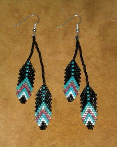 Beaded Feather Earrings by NiciasAccessories on Etsy