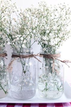 These simple baby's breath and mason jar wedding centerpieces would be beautiful. These simple baby's breath and mason jar wedding centerpieces would be beautiful for simple DIY summer wedding decor. Backyard Party Decorations, Engagement Party Decorations, Wedding Table Centerpieces, Flower Centerpieces, Wedding Tables, Table Decorations, Centerpiece Ideas, Wedding Reception, Reception Ideas