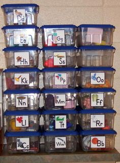 Alphabet boxes are wonderful tools to use when introducing letters and letter sounds. Students begin to associate letters with the objects in the alphabet boxes. Students can investigate the contents of the boxes during center time. Kindergarten Literacy, Preschool Learning, Kindergarten Classroom, Early Learning, Fun Learning, Preschool Activities, Days Of The Week Activities, Early Literacy, Preschool Letters