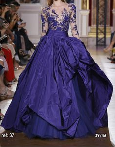 Blue embroidered flower ball gown - Zuhair Murad - Skin Flowers Fall 2012 Runway