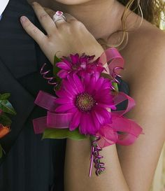 Hand corsage wedding with pink ribbon details