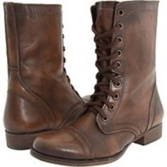 Steve madden troopa cognac leather boots size worn once Steve Madden Troopa Boots, Cute Boots, Lace Up Boots, Dress Boots, Crazy Shoes, Me Too Shoes, Brown Combat Boots, Mein Style, Shoes