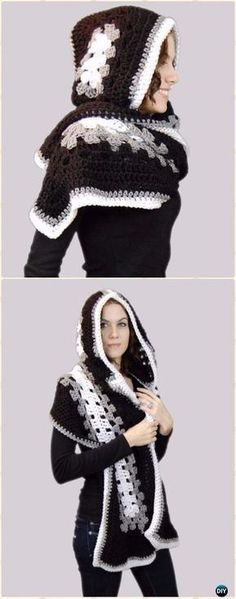 Crochet Ella Hooded Scarf Free Pattern - Crochet Hoodie Free Patterns