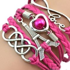 Friendship Eiffel Tower Bracelet Brand New with tag - adjustable chain - length is about 22 cm - material is korean velvet - zinc alloy and PU leather - color is rose red like the 1st picture Jewelry Bracelets