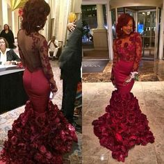 Burgundy Mermaid Prom Dresses 2016 Elegant Long Prom Gowns