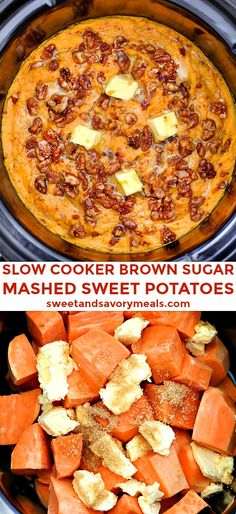Slow Cooker Mashed Sweet Potatoes – Sweet and Savory Meals Slow Cooker Mashed Sweet Potatoes is the perfect buttery side dish for all your savory entrees! Potato Recipes Crockpot, Crockpot Side Dishes, Thanksgiving Recipes Crockpot, Crock Pot Slow Cooker, Slow Cooker Recipes, Cooking Recipes, Slow Cooking, Cooking Bacon, Crock Pot Sweet Potatoes