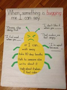 "reminders to help remind students what to say when someone is ""bugging"" them. Great anchor chart for classroom management.Great reminders to help remind students what to say when someone is ""bugging"" them. Great anchor chart for classroom management. Dealing With Anger, Education Positive, Early Education, Early Childhood Education, Responsive Classroom, School Social Work, School 2017, Bulletins, Classroom Community"