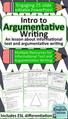 This mini-unit teaches middle and high school students about informational texts in order to make them better argumentative essay writers. Argumentative Writing, Persuasive Writing, Teaching Writing, Teaching Resources, Teaching Ideas, 6th Grade Writing, Middle School Writing, Writing Strategies, Writing Lessons
