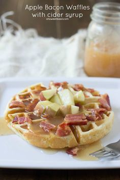 Perfect waffles filled with sweet apples and crisp bacon are already delicious, but top it with the best apple cider syrup and we are hooked...