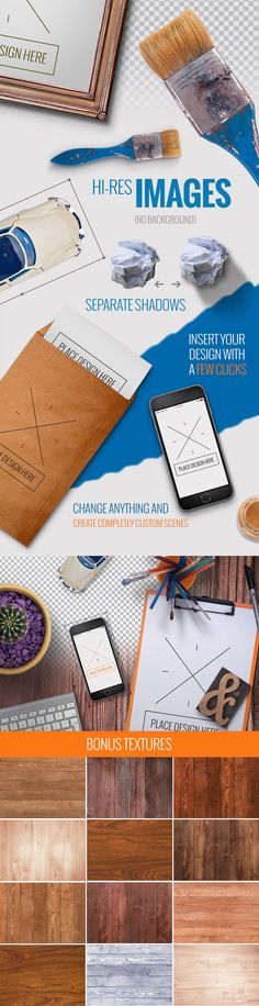 This set contains more than 120 quality items and mockups +12 professional textures! It also includes 20 ready-made scenes (layered) and you can apply any design on them in seconds. If you wish to create something unique, just make a few tweaks, or change a few objects and voilà…you've just designed your Professional and Unique presentation or image in under a few minutes.