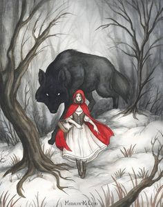 This picture is classic image of Little Red Riding Hood and the Big Bad Wolf. I chose this picture because it represent typical imagery in fairy tales. The young, innocent looking girl going up against a bigger, badder, scarier creature. Red Riding Hood Wolf, Little Red Ridding Hood, Little Red Hood, Into The Woods Movie, 7 Arts, Big Bad Wolf, Fairytale Art, Art And Illustration, Food Illustrations
