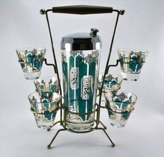 Wonderful cocktail shaker & glasses on a stand circa 1950