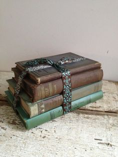 Green and Black Vintage Books  Instant by VerucasVintage on Etsy, $17.00