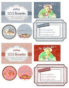 """Hello,   Aujourd'hui que vous propose des étiquettes pour les plus gourmandes d'entres vous... Vous connaissez les """"SOS Cookies""""? Non? Ce so..."""
