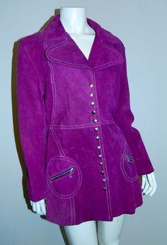 vintage 1960s violet suede car coat MOD contrast stitch jacket XS- Sma – Retro Trend Vintage