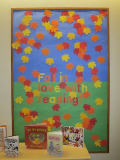 fall in love with reading library bulletin board