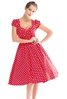 Red and white polka dot swing dresses for women