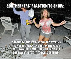 Southerners' reaction to snow. . . so true. If you live in the South, you get the milk and bread in the picture.  nothing sells either like a little snow, or even a prediction of snow down here.