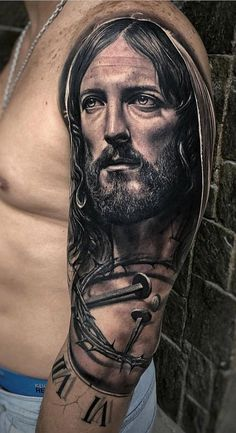 Jesus Tattoos - Tons of Jesus Tattoo Designs & Ideas - Tattoo Me Now Jesus Tatoo, Jesus Tattoo Sleeve, Religious Tattoo Sleeves, Christ Tattoo, Best Sleeve Tattoos, Jesus Tattoo Design, Body Tattoo Design, Angel Tattoo Designs, Tattoo Sleeve Designs