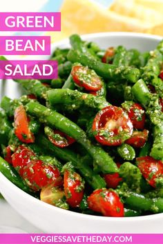 Green Bean Salad is bursting with fresh Mediterranean flavors. This easy vegan recipe combines cherry tomatoes and a quick cilantro sauce. salad recipes Green Bean Salad with Cilantro Sauce Bean Salad Recipes, Healthy Salad Recipes, Vegan Recipes Easy, Easy Green Salad Recipes, Side Salad Recipes, Healthy Summer Recipes, Smoothie Recipes, Green Bean Salads, Green Beans