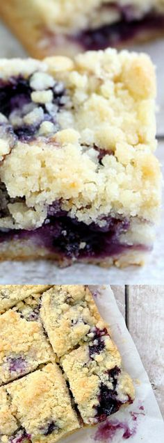 These Blueberry Crumble Bars from Jamie at Love Bakes Good Cakes are filled with blueberries and comes out of the oven warm and delicious. They are buttery and have an amazing crumble topping that you (Baking Sale Bars) Blueberry Crumble Bars, Blueberry Desserts, Just Desserts, Delicious Desserts, Yummy Food, Blueberry Cookies, Desserts With Blueberries, Blueberry Squares, Fruit Recipes