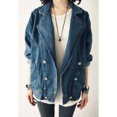 Vintage solapa bolsillos grandes del diseño del collar de manga larga capa de las mujeres del dril de algodón para Vender - La Tienda En Online IGOGO.ES