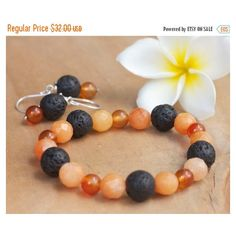 ON SALE Natural stone orange bracelet, Natural stone jewelry, Bracelet... ($27) ❤ liked on Polyvore featuring jewelry and bracelets