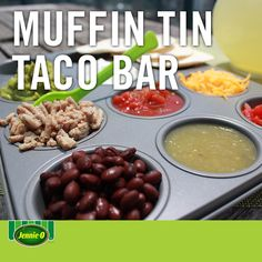 Muffin Tin Taco Bar   A perfect taco night with fewer dishes   Fill a muffin tin with your favorite taco toppings   Back to School   Life Hacks   #JennieO