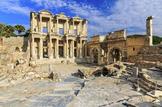 Photo about Facade of ancient Celsius Library in Ephesus, Turkey. Image of anatolia, mythology, architecture - 63153329 Turkey Stock, Ephesus, Mythology, Facade, Gate, Stock Photos, Mansions, Architecture, House Styles