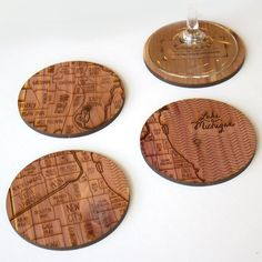 Chicago coasters by Neighborwoodmaps on Etsy, $30.00