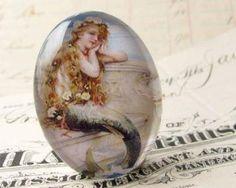 "Vintage 1930s advertisement ""Mermaid Bath Salts"" Handmade glass oval cabochon 40x30mm 40x30 30x40mm 40 30 mm by FallenAngelBrass for $5.25"