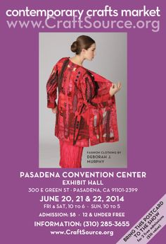 Pasadena is the new home of the Contemporary Crafts Market and June 20-22, 2014 marks our 29th season. We look forward to seeing you there!