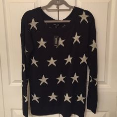 Express Star Sweater Black Express sweater with white Stars. New with tags. Express Sweaters Crew & Scoop Necks