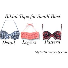 """""""Bikini Tops for Small Bust"""" by styleyouniversity on Polyvore"""